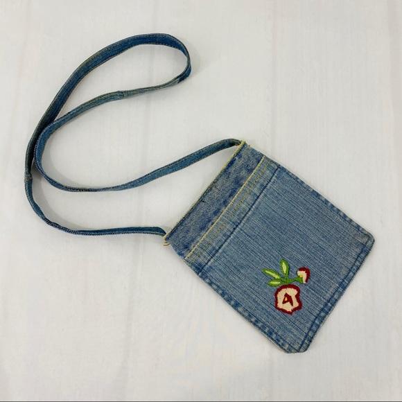 Vintage Handbags - Vintage Mini Denim Purse Embroidered Flower